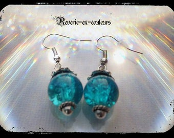Crackle glass bead earrings