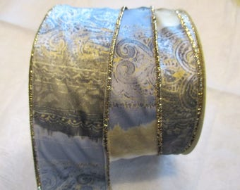 7 m gray and yellow and Gold Ribbon with moire effect