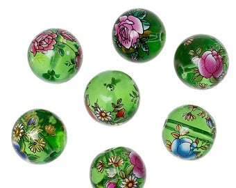 x 2 beads 14 mm glass style green Tensha with flowers.