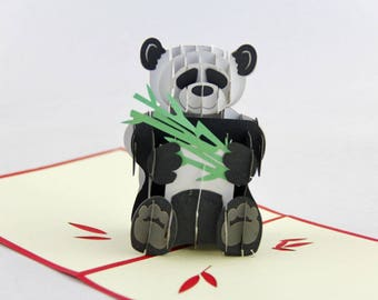 Handmade Panda and bamboo 3D pop up popup birthday card Valentines day card Easter card father's day card mother's day card friendship card