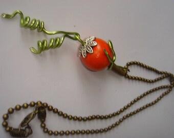 Pumpkin Bead Necklace wood & aluminum Halloween