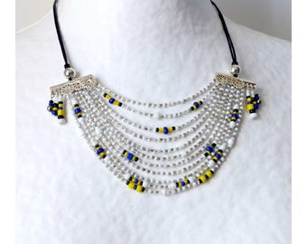 Multi strand bib necklace * Queen of the NILE * silver, white, yellow, blue and black seed beads