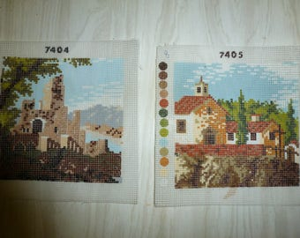 set of two small canvas new embroidery .n7405 scenery and landscape 7404 without wires