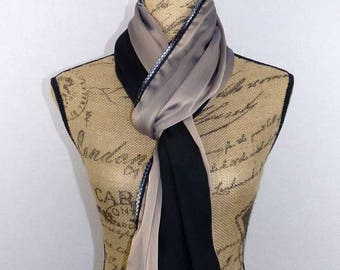 Scarf long black veil and taupe come 200x60cm