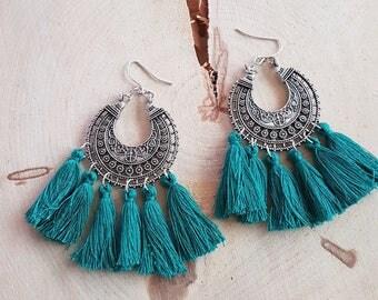 Earrings Emerald tassels