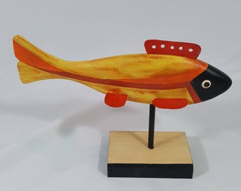 Carved Wood ICE FISHING LURE Bright Colors Wood Decoy Signed by Artist One-Of-A-Kind