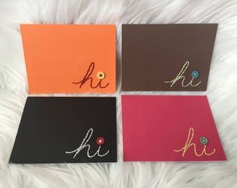 Hand Stitched cards 4 pack - Hi - handstitched notecards greeting cards