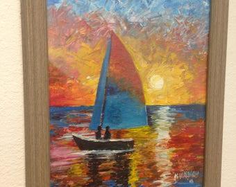 Palette Knife Sunset Sail Boat