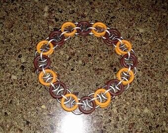 Brown, orange, and steel single middle link helm chain bracelet