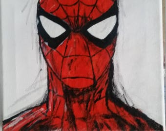 Hand painted spiderman canvas