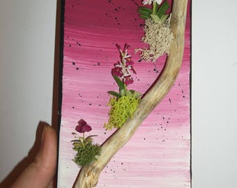 frame rectangular 3D in shades of pink with three little orchids in fimo on a branch