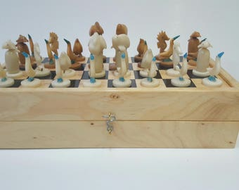 Wooden Handmade Chess Set with  Original Tagua Pieces