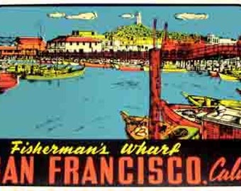 Vintage Style Golden Gate Bridge California Fishermans Wharf   San Francisco  Travel Decal sticker