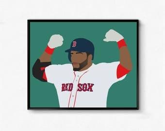 David Ortiz Minimalist Sports Poster - Big Papi, Boston, Baseball, Boston Strong, Baseball Poster, Wall Art Decor