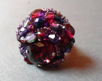 Damson red purple blue cabochon ring