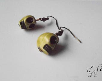 Bronze Pearl Earrings skull / skull Green