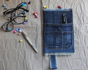 """Blue Denim Journal Cover """"Alexander"""" with pocket and bookmark, Jeans Notebook Cover, Denim Book Cover, Jeans Exercise Book Cover"""