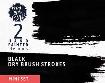 Watercolor clipart brushstrokes, BLACK brush strokes clipart, black brushtrokes, black paint,hand painted,dry brush strokes,stationery,