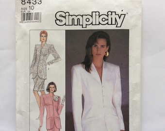 Simplicity 8433 suit, skirt with jacket pattern. Uncut, vintage wedding party 1987 size 10