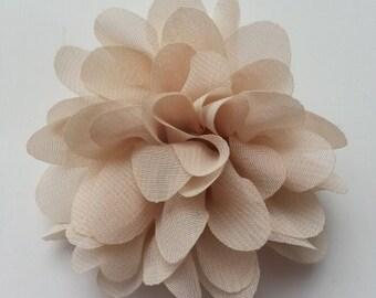 applique fleur beige 75mm