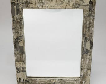 "Mirror, wood, rectangular, paint, papers, white, beige, Brown,""bathers"""