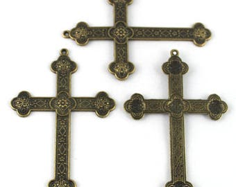 Bronze large 80 mm x 54 mm metal cross pendant