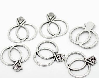2 charms/pendants ring lovers silver metal