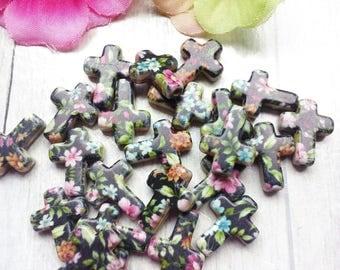 10 floral acrylic cross beads