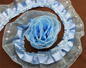 Sky blue satin and organza Ribbon (x 1 meter) polyester