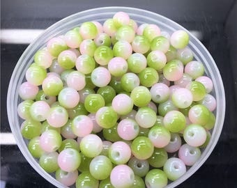 10 round beads 8 mm two-tone pink and green glass