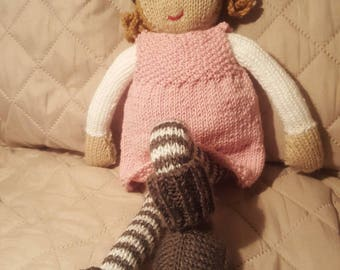 Pink and gray tones hand knitted doll anthracite