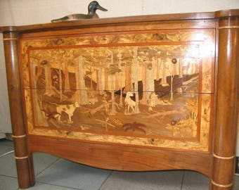 """STUNNING UNIQUE PIECE Dresser real inlaid """"hunting"""""""