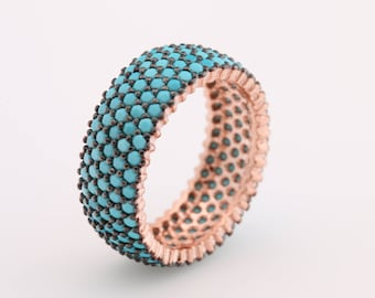 Band Ring! Handmade Turkish Special Turquoise Jewelry 5 Lines 925 Sterling Silver Rose Gold Ring for Gift for Ladies All Sizes