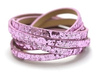 """1.2 m leather strap double 5 mm fancy """"Nugget"""", bright pink"""