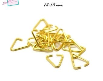 100 bails large hoops 18 x 13 mm, gold triangles