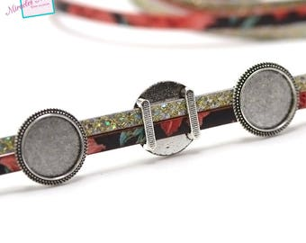 """10 pearls passing/slides for """"034 support cabochon 18 mm on a"""" leather strap 22 x 5 mm"""