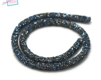 beautiful cord 40 cm round 6 mm Rhinestones, silver royal blue