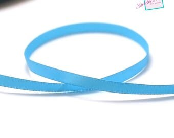 5 m of plain 7 mm, turquoise satin ribbon