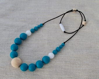 Silicone Teething Necklace - Teal and White