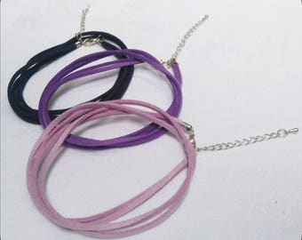 3 Double suede cord necklace