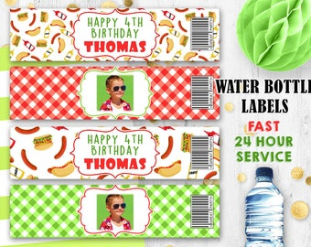 BBQ party Water bottle labels Picnic party Photo labels BBQ labels Picnic labels