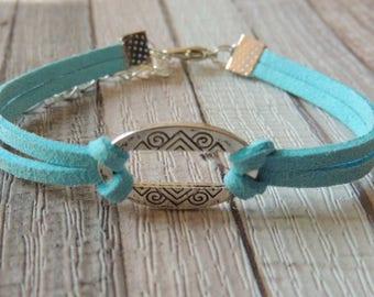 Suede suede oval sky blue bracelet