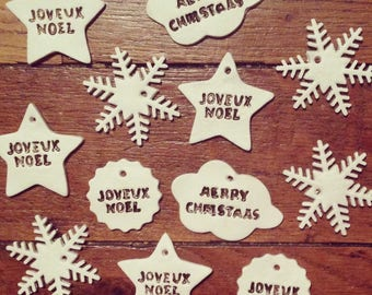 Clay star cloud round Merry Christmas snowflake decoration