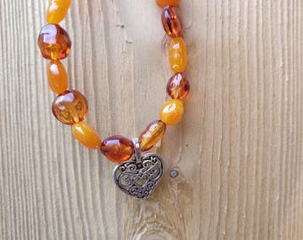 Lovely Orange Beaded Bracelet