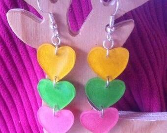Earring dangle hearts shrink plastic