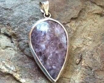 Lepidolite gemstone silver pendant