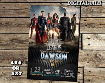 Justice League Invitation,Justice League Birthday Invitation,Justice Leeague,Lego Invitation,Superhero Invitation,Justice League Party SL