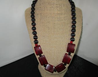 Red Glass Beaded Necklace