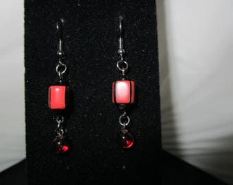 Beaded Red & Black Earrings