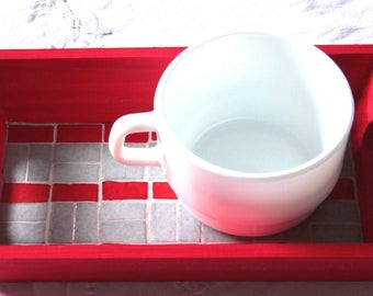Red and gray mosaic tray small